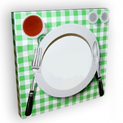 """Подарочная коробка для тарелки с окном """"Сервированный стол"""""""
