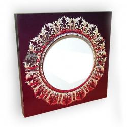 """Подарочная коробка для тарелки с окном """"Бордовый винтаж"""""""